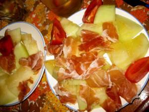 Nachtmahl. Honigmelone+ Parmaschinken