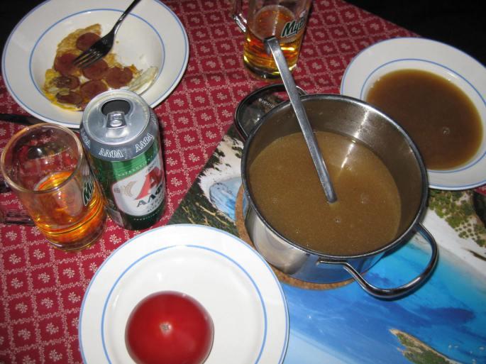 Geröstete Grießsuppe,nach Diarhoe