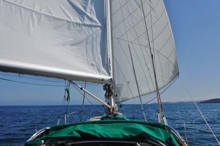 Wir segeln vor dem Wind