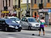 Straßenkünstler während der Rotfase